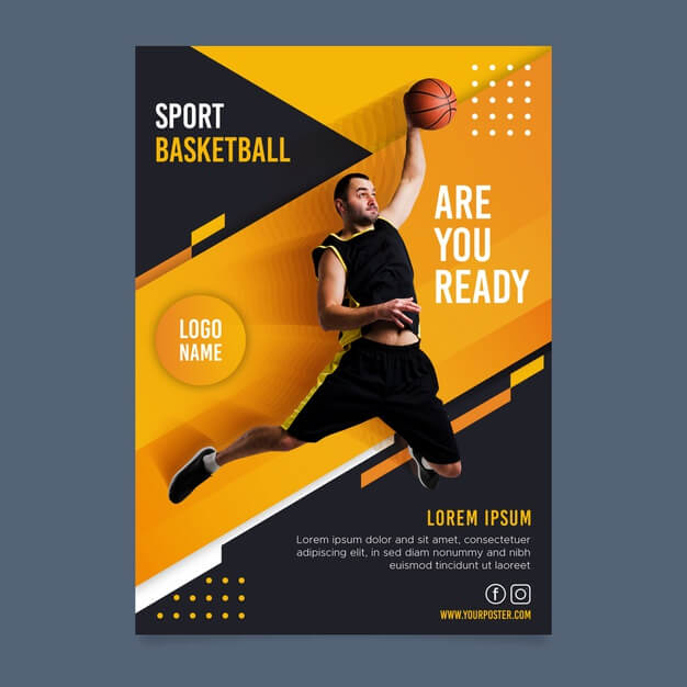 Sport brochure with photo Free Vector