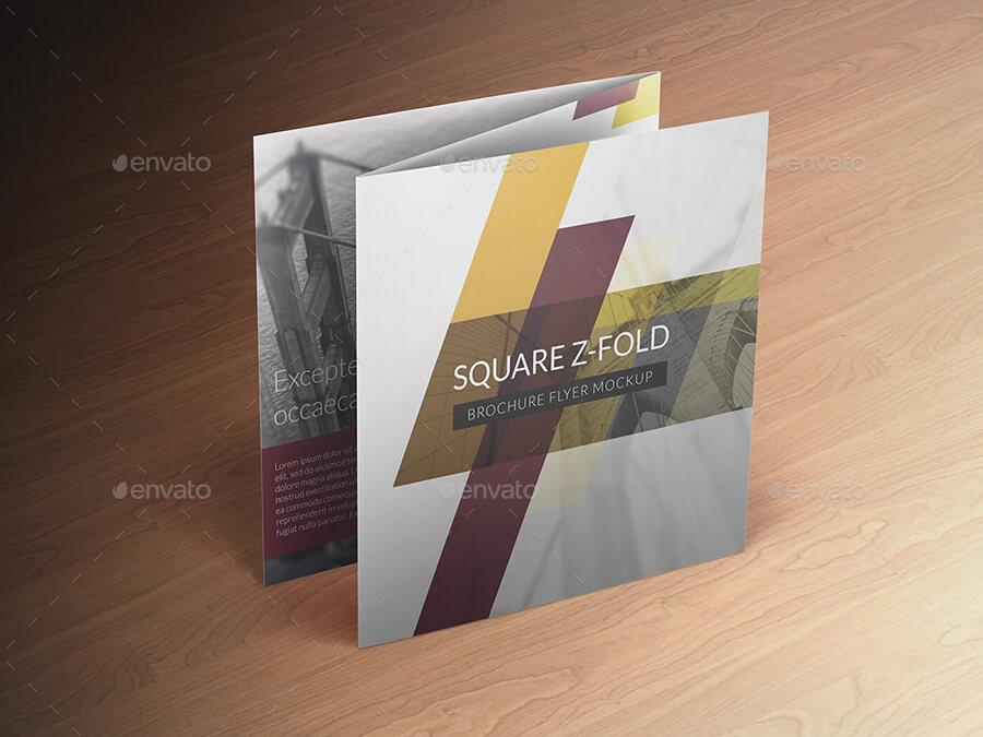 Square Z-Fold Brochure Flyer Mockup