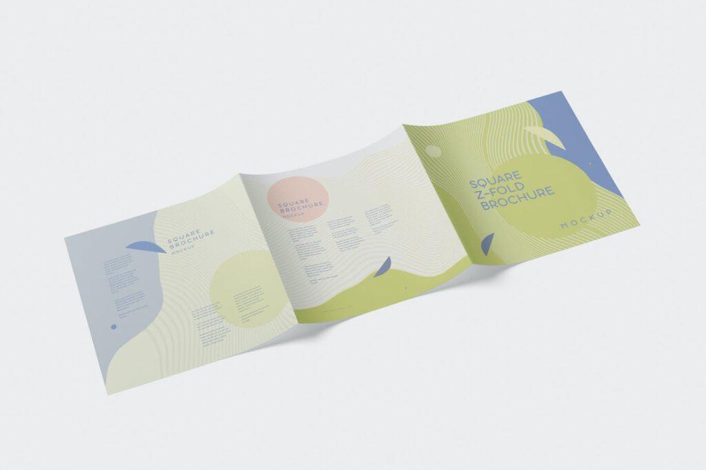 Square Z-Fold Brochure Mockup Set
