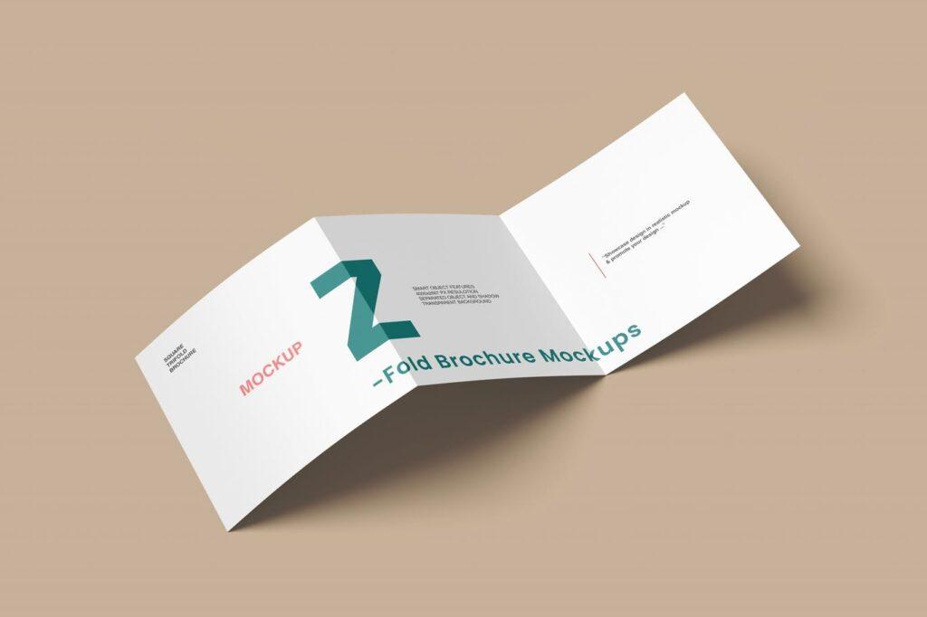 Square Z Fold Brochure Mockups