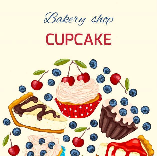 Sweet dessert greeting card template Premium Vector