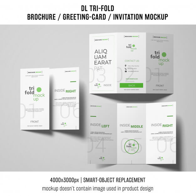 Three trifold brochure or invitation mockups Free Psd (1)
