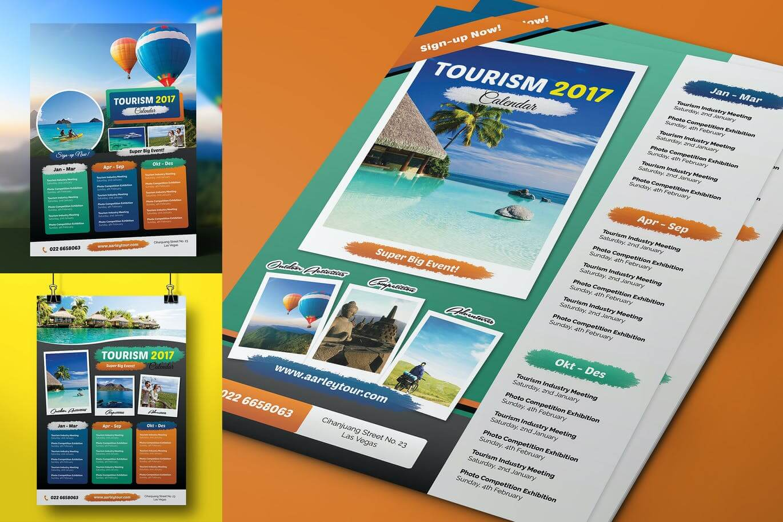 Tourism Events Calendar Flyer Template (1)