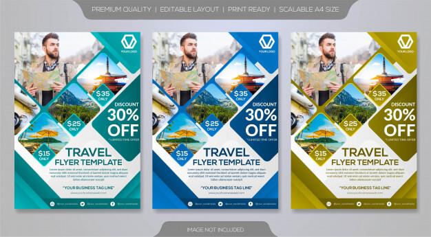 Travel brochure template Premium Vector