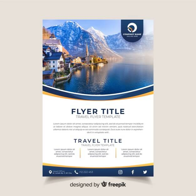 Travel brochure template with photo Free Vector (1)