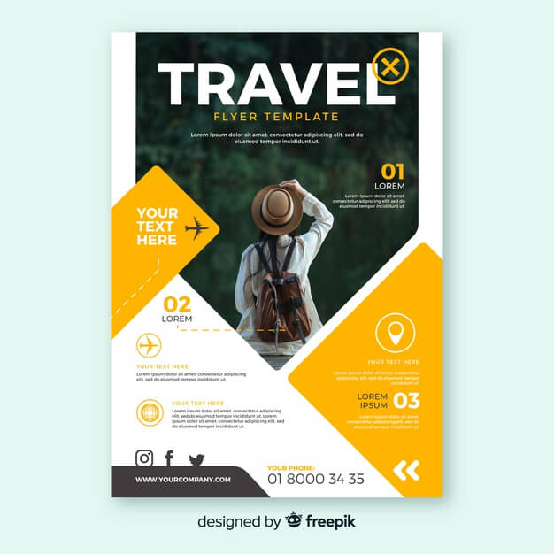 Travel flyer template Free Vector (1)