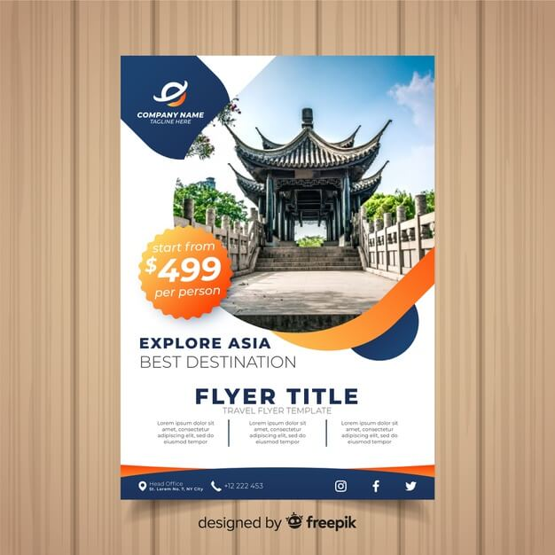 Travel flyer template Free Vector (2)