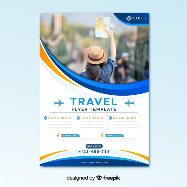 Travel flyer template with photo Free Vector (1)