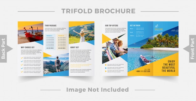 Travel trifold brochure design template Premium Vector