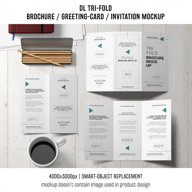 Trifold brochure or invitation mockup still life concept Free Psd (1)