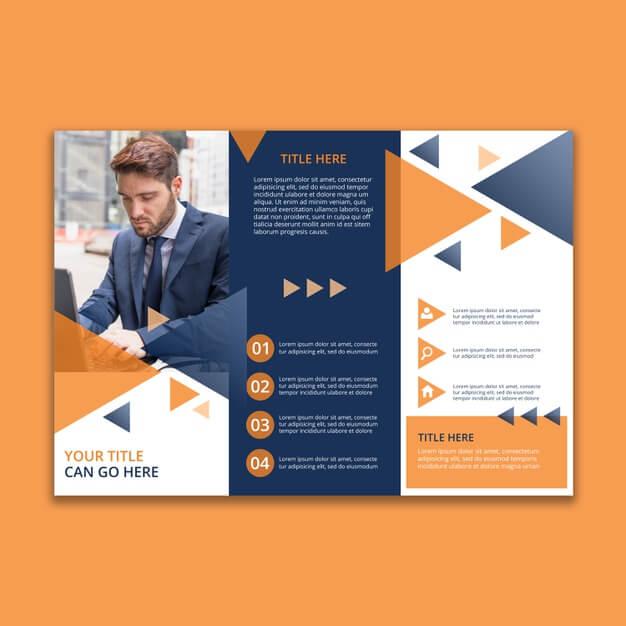 Trifold geometric business brochure template Free Psd