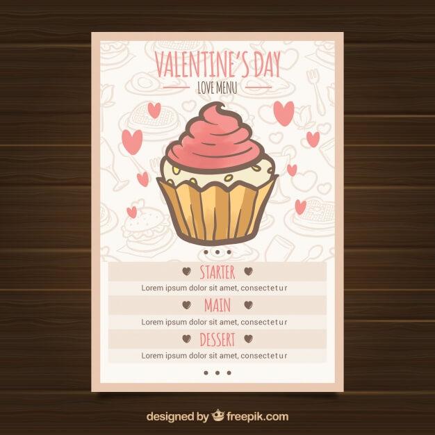 Vintage valentine's day menu Free Vector