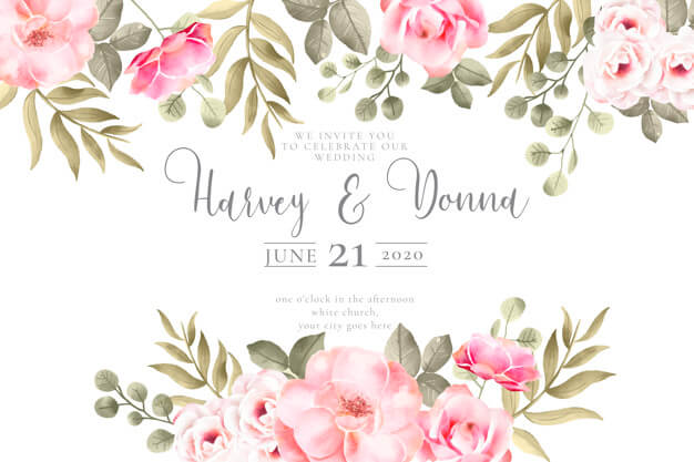 Wedding invitation with lovely watercolor flowers Free Vector (1)