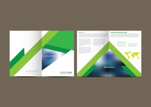 White and green geometric business brochure Free Vector (1)