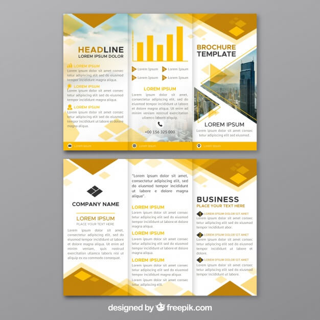 Yellow trifold business brochure Premium Vector (1)