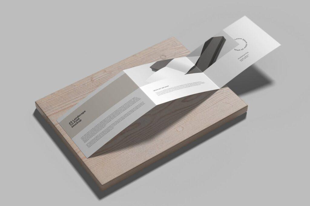 Z Fold A5 Landscape Mockup on The Wood
