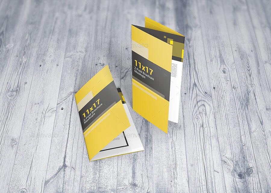 Z-Fold Brochure Mockups 11×17 Size