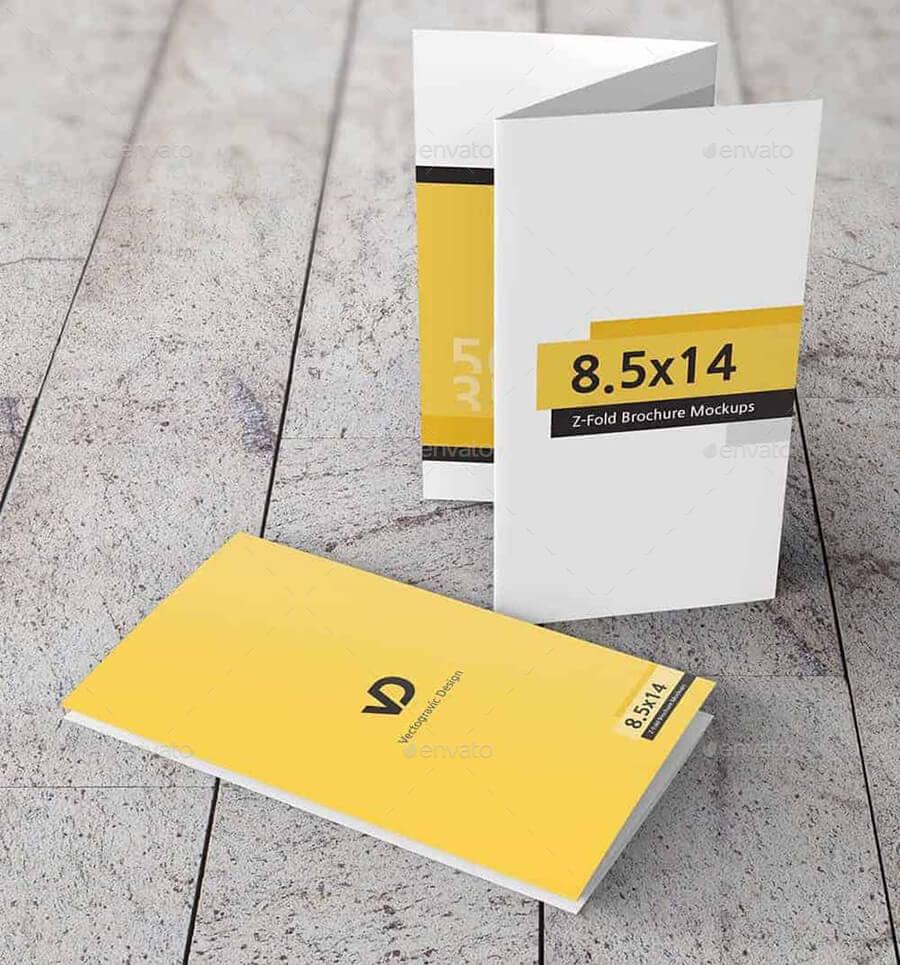 Z-Fold Brochure Mockups 8.5x14 Size