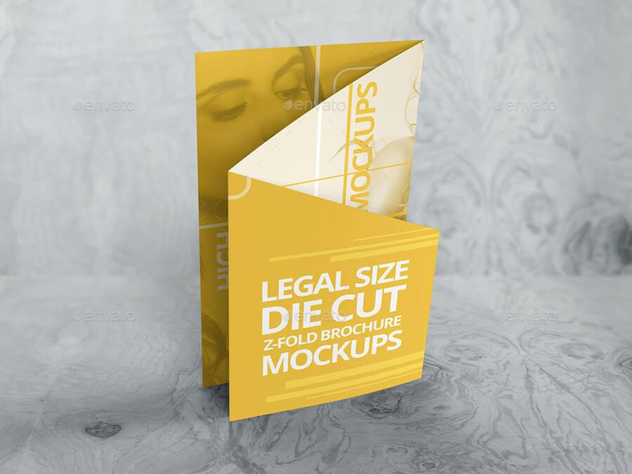 Z Fold Die Cut Brochure Mockups