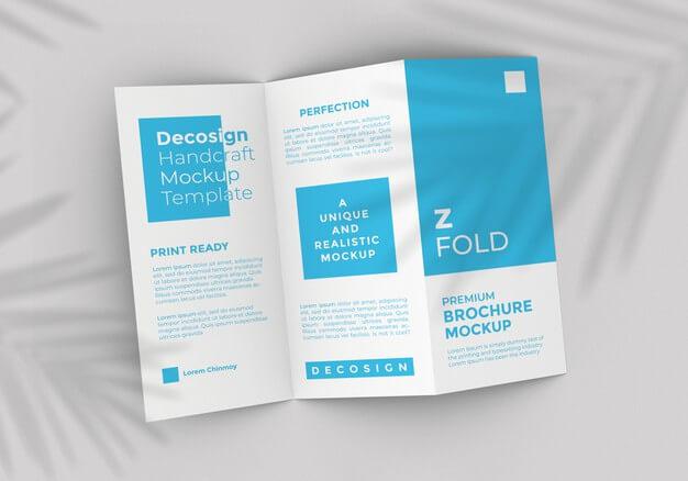 Z fold brochure mockup template Premium Psd