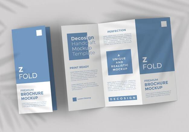 Z fold brochure mockup template Premium Psd1