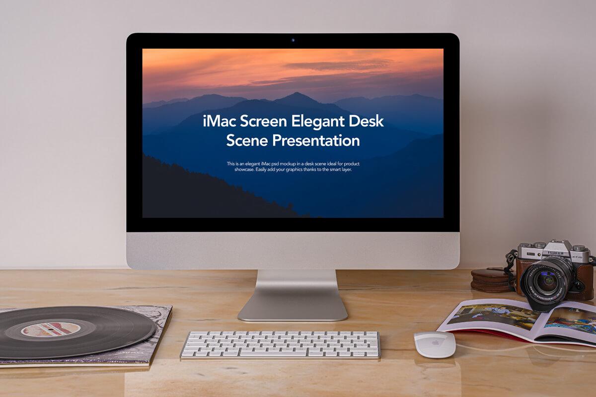 Free Elegant Desk iMac Mockup Scene PSD Template
