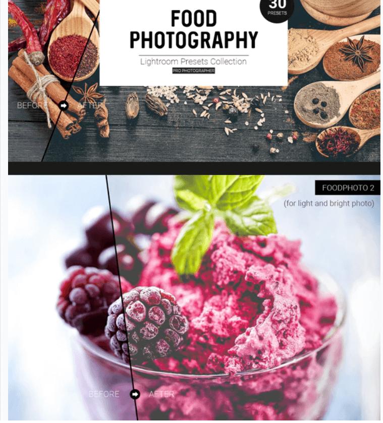 30 Lightroom Foodphoto Presets