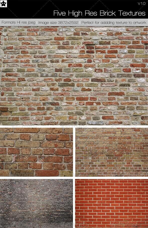 5 High Res Brick Textures