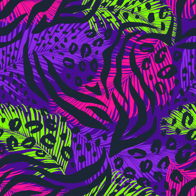Abstract geometric seamless pattern with animal print. Premium Vector (1)