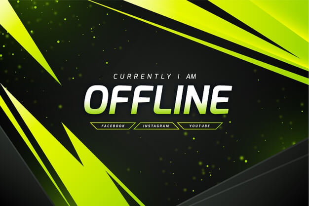 Abstract offline twitch banner template Free Vector