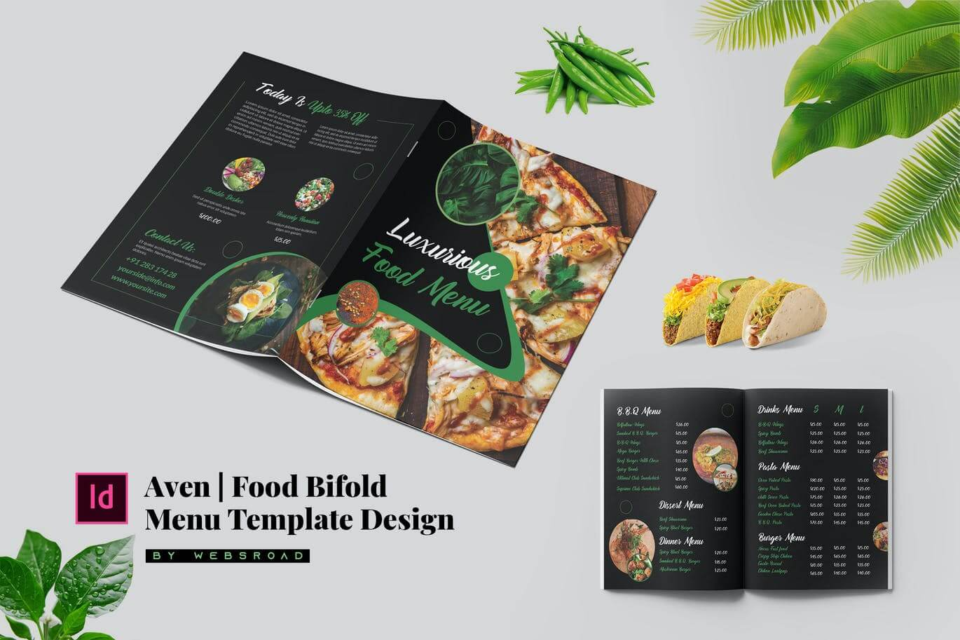 Aven Food Bi-fold Menu Template Design (1)