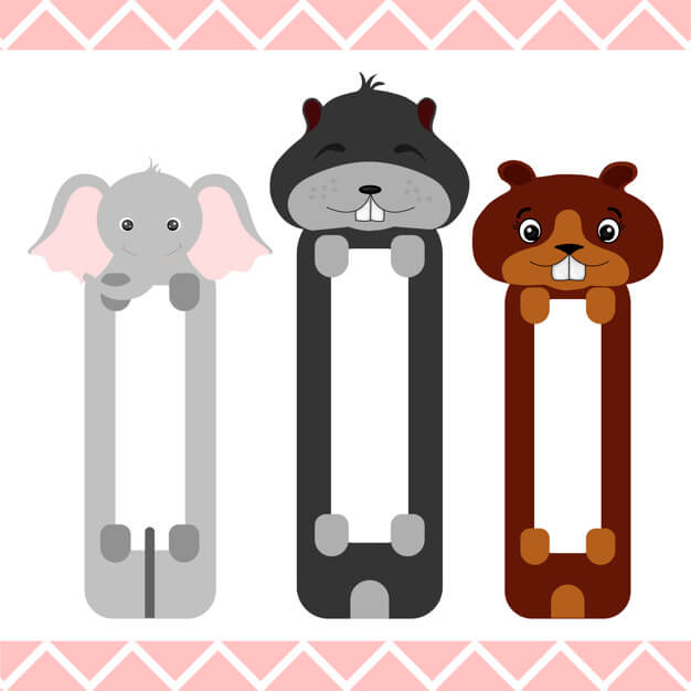 Baby bookmarks with cute animals Premium Vector (1)