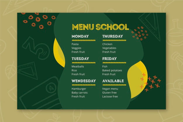 Back to school menu template Free Vector