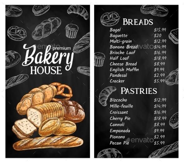 Bakery House Chalkboard Sketch Vector Menu (1)