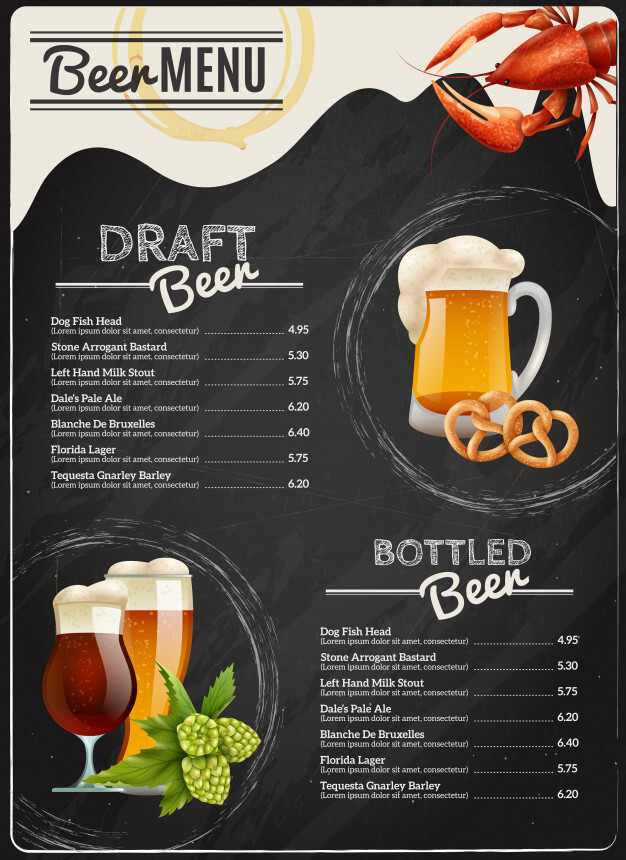 Beer chalkboard menu Free Vector (3)