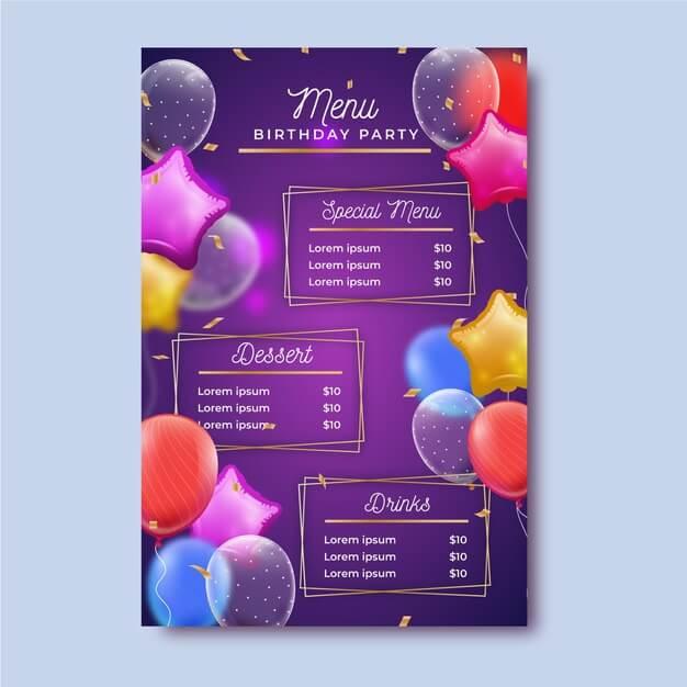 Birthday menu template Free Vector