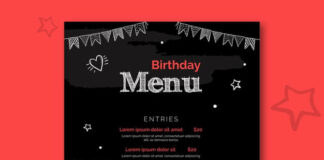 Birthday menu template with illustrations Free Vector