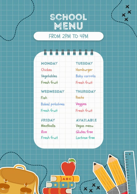 Blue school menu poster template Free Psd