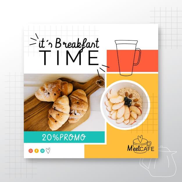 Breakfast restaurant flyer square Free Vector