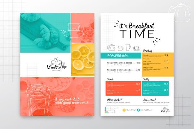 Breakfast restaurant menu concept Free Vector