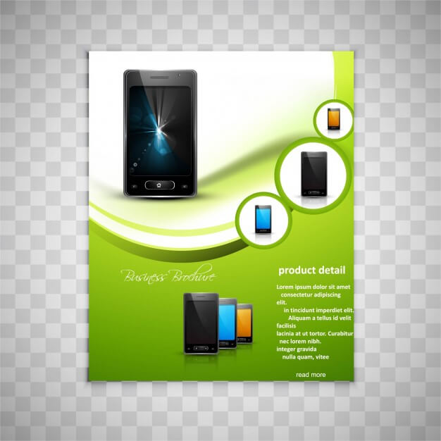 Brochure page design with smartphone Free Vector