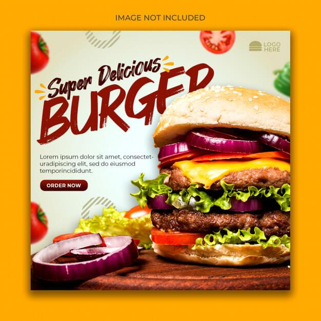Burger menu promotion social media banner template Premium Psd (2)