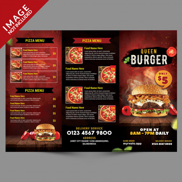 Burger menu trifold template outside Premium Psd (1)
