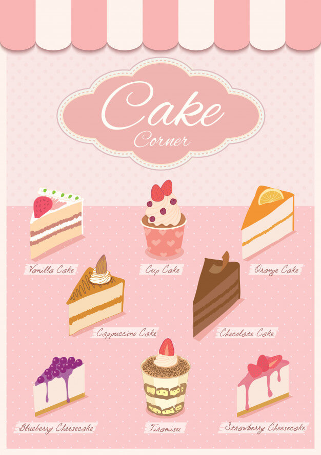 Cake menu on pink shop. Premium Vector