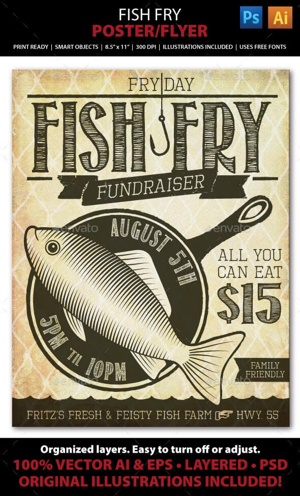 Campaign Menu, Fish Fry Event Fundraiser Poster, Flyer or Ad