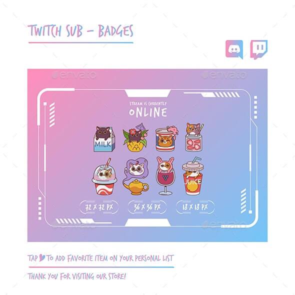 Cat Twitch Sub Badges
