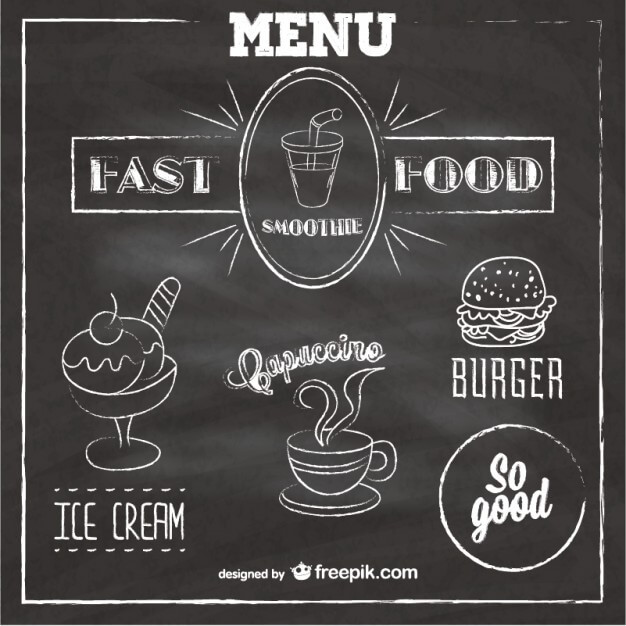 Chalkboard fast food menu Free Vector (1)