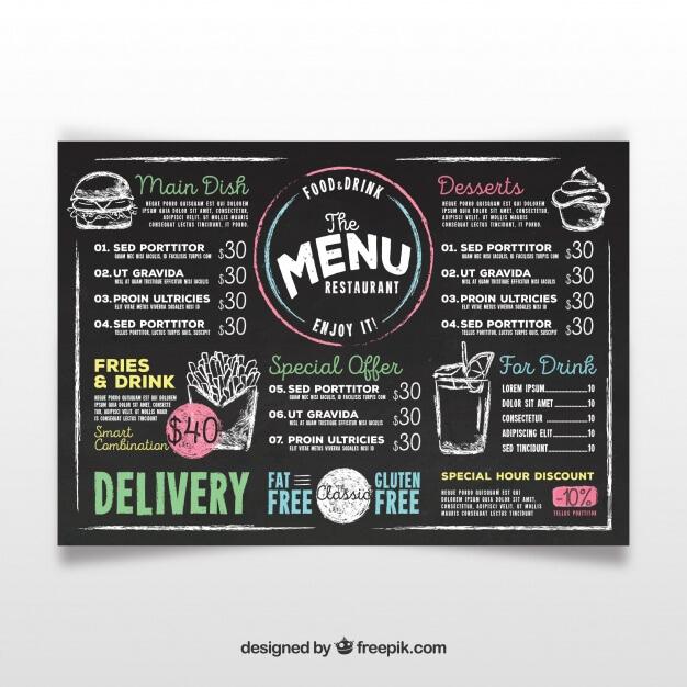 Chalkboard menu template Free Vector (1)