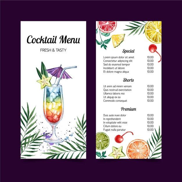 Cocktail menu watercolor template design Free Vector
