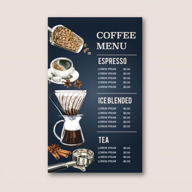Coffee house menu americano, cappuccino, espresso menu, infographic, watercolor illustration Free Vector (1)